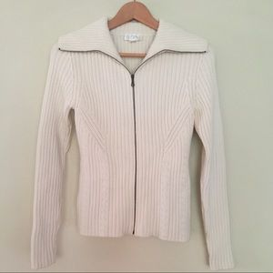 Ann Taylor LOFT Fitted Zip Front Sweater XS